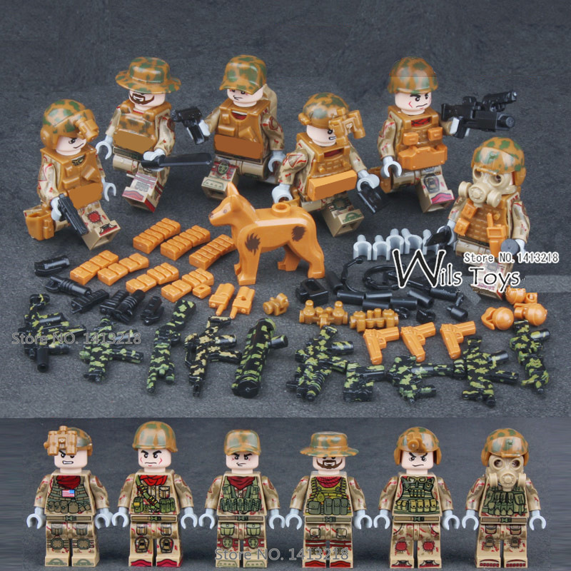 6pcs Delta Force MILITARY Soldier WW2 Weapon SWAT Camouflage Army Gun Building Blocks Figures Educational Toy Gift Boys Children xinlexin 317p 4in1 military boys blocks soldier war weapon cannon dog bricks building blocks sets swat classic toys for children