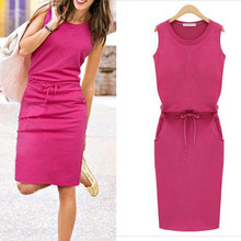 Dress Fashion Women Sleeveless Cotton Slim Pockets With Belt Pencil Dresses Casual Female sexy Dress Vestido