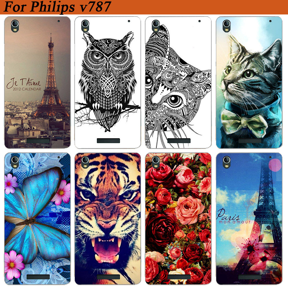 For <font><b>Philips</b></font> Xenium <font><b>V787</b></font> Cases Luxury Wolf Tiger Rose Painted Soft Tpu Back Cover Case For <font><b>Philips</b></font> <font><b>V787</b></font> Fundas Coque Phone Sheer image