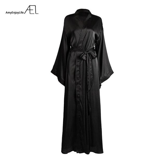 AEL Fashion Loose Soft Comfortable Night Robe Women Belt Bathrobe Women's Sleep Sexy Sleepwear Shift 2017 Select 3 Color 5
