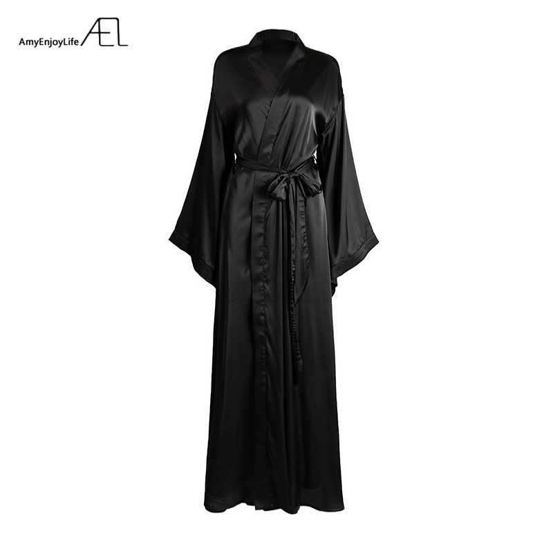 AEL אופנה רופף רך נוח לילה Robe נשים חגורת חלוק רחצה נשים של שינה סקסי הלבשת Shift 2017 בחר 3 צבע