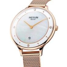 שוויץ למעלה יוקרה מותג Nesun נשים של שעונים יפן יבוא קוורץ שעון נשים Relogio Feminino יהלומי שעוני יד N8805 1