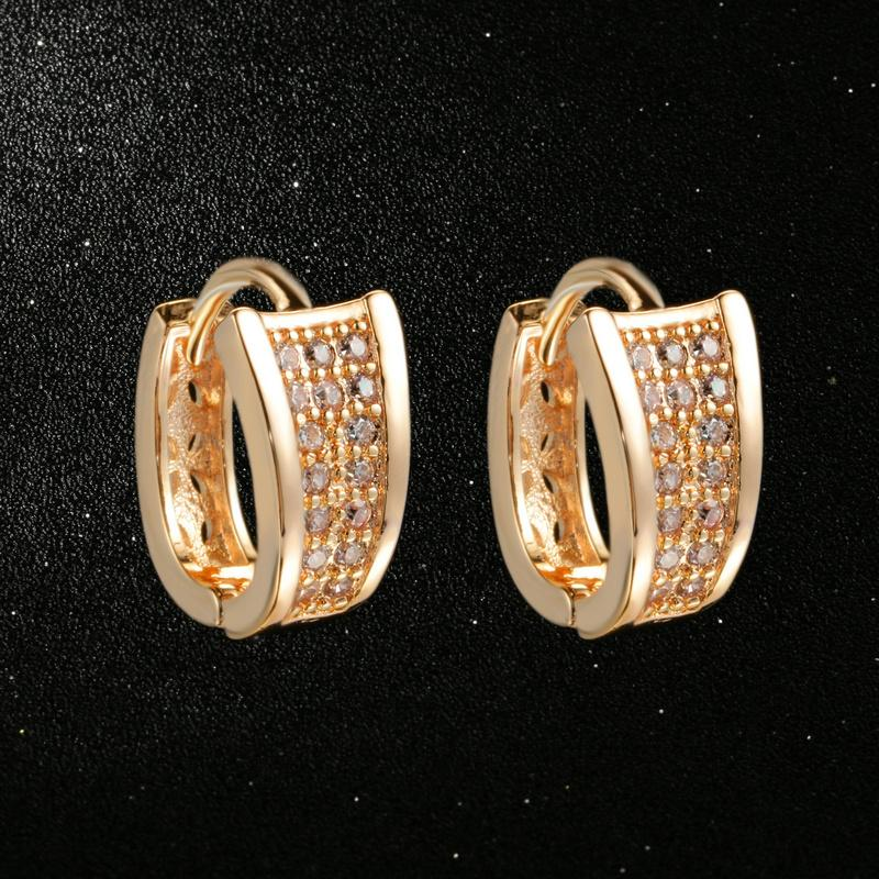 Detail Feedback Questions about Fashion Design Rose Gold Color Half Round  Loop Cubic Zirconia Wedding Hoop Earrings for Women DFE831 on  Aliexpress.com ... 23f3ce5def47