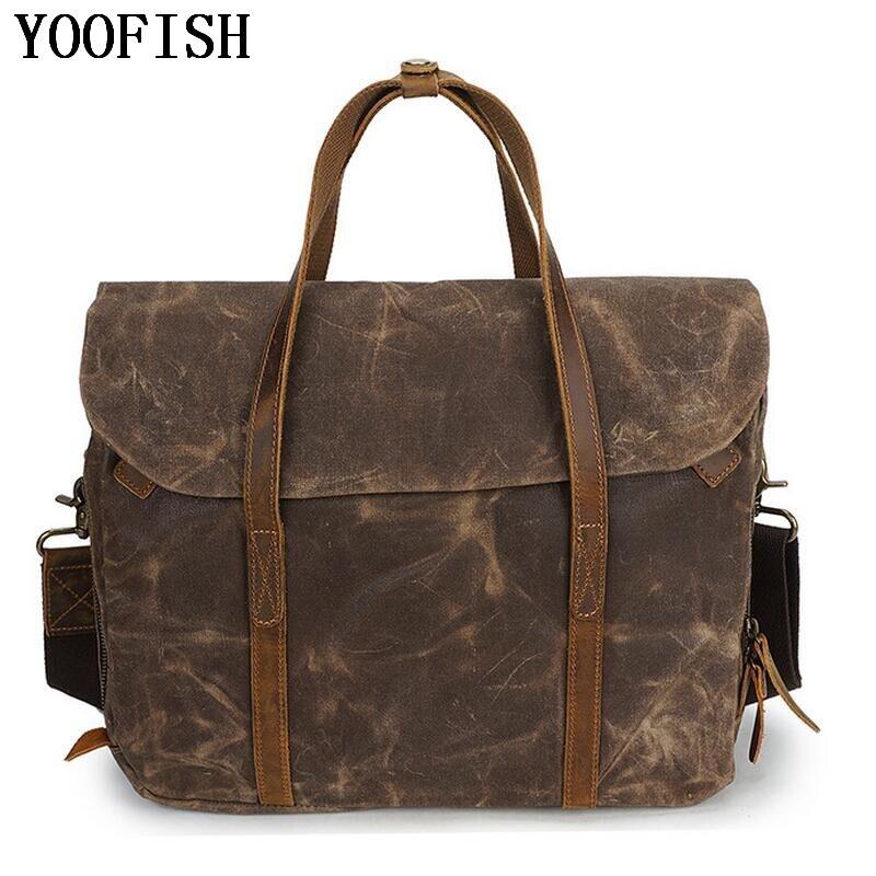 купить YOOFISH Vintage Real Leather Bags 14 inch Laptop Bag Fashion Casual Messenger Bag Crazy Horse Leather Bags LJ-841 по цене 4232.84 рублей