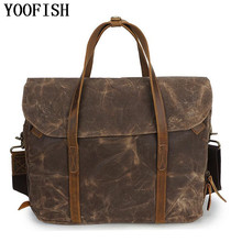 YOOFISH  Vintage Real Leather Bags 14 inch Laptop Bag Fashion Casual Messenger Crazy Horse LJ-841