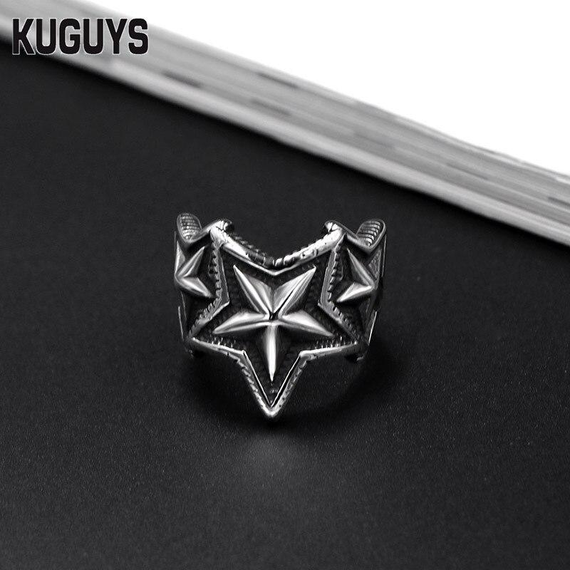 Kuguys Pentagram Star Index Finger Ring Mens Women Black Silver