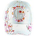2015 summer Crystal  Snapback Caps Colorful Big G Letter AB Crystal Handmake Denim Sun Baseball Hat Cap Women