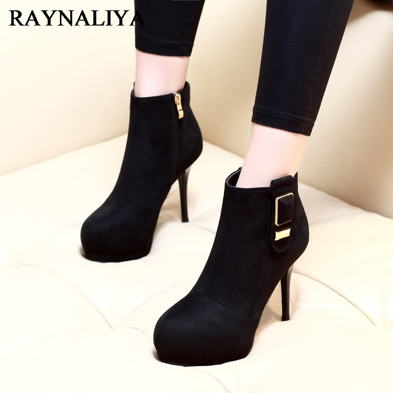 Top Quality Fashion Women Velvet Ankle Boots Elegant Buckle Laides Party Wedding Winter Boots Shoes Woman High Heels CH-A0046