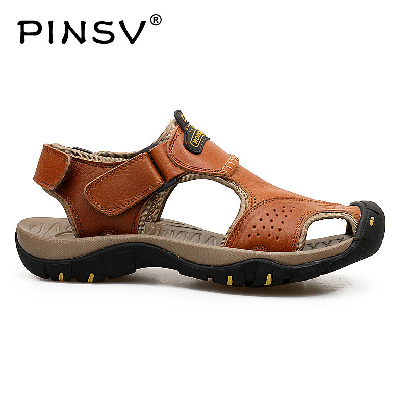 Hot Sale New Fashion Summer Leisure Beach Men Shoes High Quality Leather Sandals Slip-On Yards Mens Sandals The Big Size 38-45