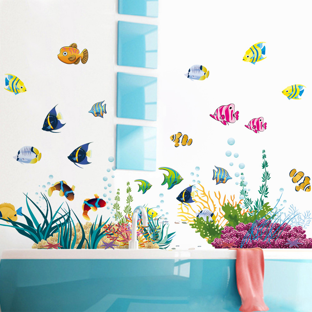under the sea bathroom decor colorful underwater world fishes cartoon wall sticker for nursery kids room decor diy bathroom mural
