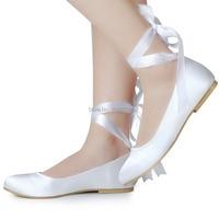 EP11105 ONS Bruid Wit Ivoor Lace-up Schoenen Bridal Party Flats Ronde Neus Comfort Linten Satijn Dame Wedding schoenen