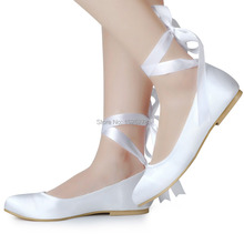 EP11105 White Ivory Woman wedding flats Lace-up Round Toe Comfort Ribbon tie ballet Satin Lady girls evening party bridal Shoes