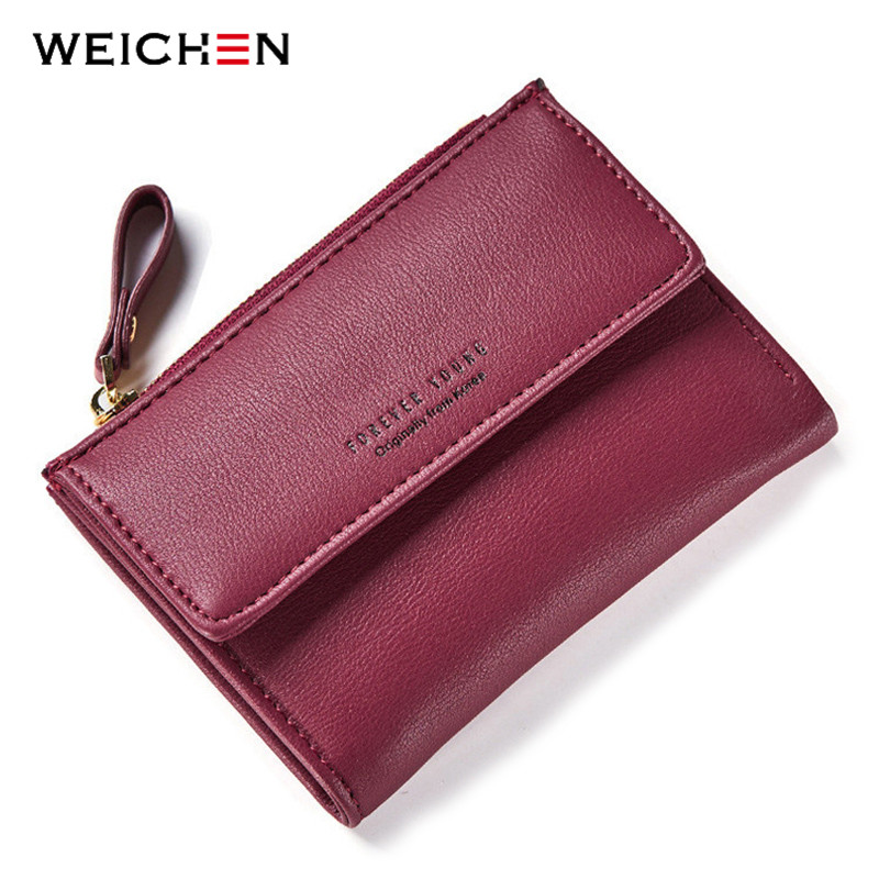 WEICHEN Hasp & Zipper Short Standard Wallet, Hot Fashion PU Leather Solid Coin Card Purse Wallets For Women Lady Clutch Carteras ttou female small standard wallet solid simple pu leather women short wallets hasp vintage lady girls coins purse card holder