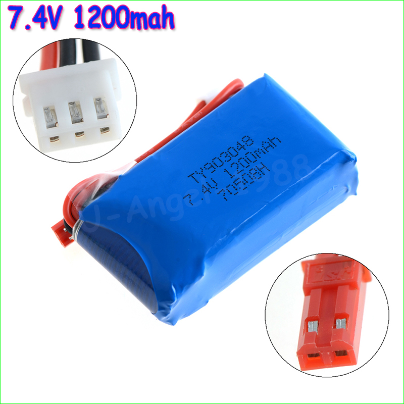 2pcs/lot Lipo Battery 7.4v 1200mAh 2S 30C JST For WLtoys Quadcopter Drone V666 V262 V353 V333 V323 Helicopter Truck Drone
