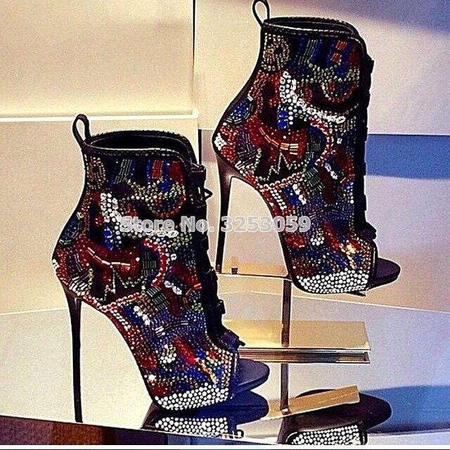 Femmes multi-couleur cristal bottines bout ouvert à lacets exquis colorisé strass chaussons extrêmement hauts talons chaussures de mariage
