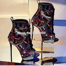 Multi-Color Crystal Open Toe Lace-up Colorized Rhinestone Ankle Boot