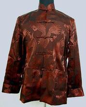 Brown Chinese Handmade Men's Silk Satin KungFu Jacket Coat Dragon Size S M L XL XXL XXXL Free Shipping M1143