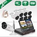 Anran plug and play kit de segurança de 10 polegada lcd & onvif 8ch nvr sem fio 720 P HD IR IP WI-FI Câmera Ao Ar Livre Sistema de Vigilância 2 TB HDD