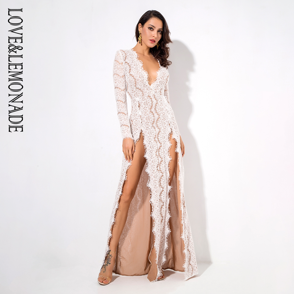 Love Lemonade White Deep V Collar Cut Out Lace Long Sleeve Maxi Dress LM1085