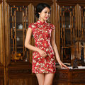 Sexy Silk Satin Mini Cheongsam Chinese Traditional Evening Dress Qipao QP143 Red