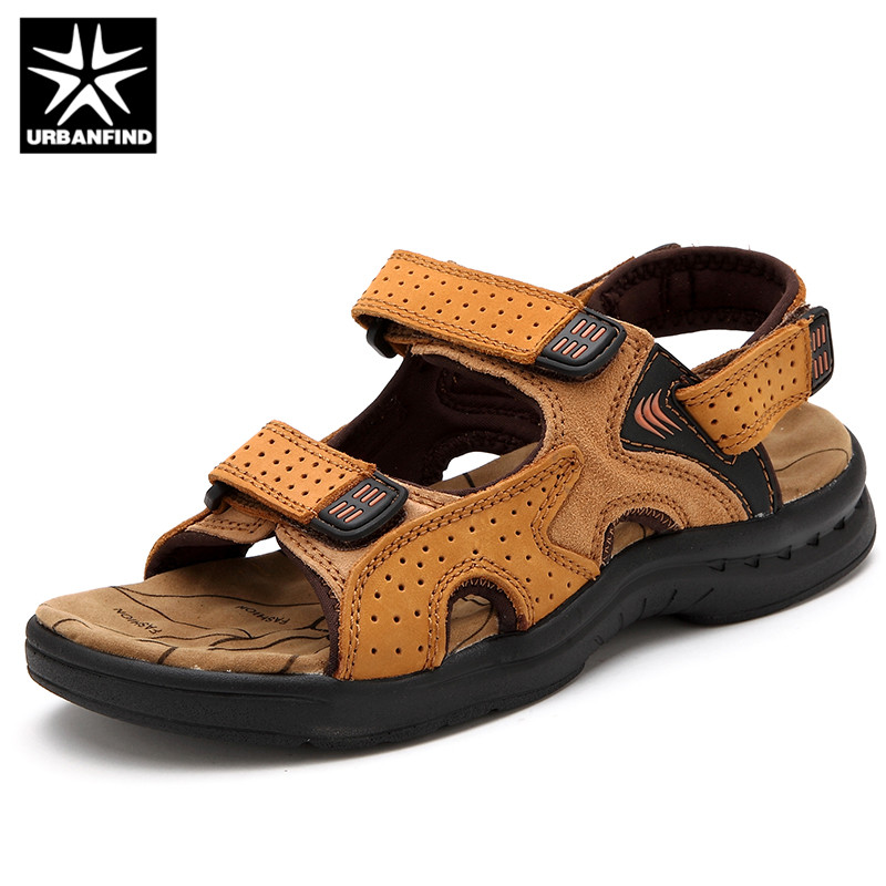 URBANFIND Genuine Leather Men Summer Sandals Size 38-44 Vintage Style Male Casual Beach Shoes 3 Colors Black Yelow Brown