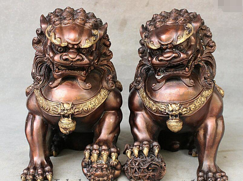11 China Red Bronze Copper Feng Shui Evil Royal Door Fu Foo Dog Lion Pair Statue