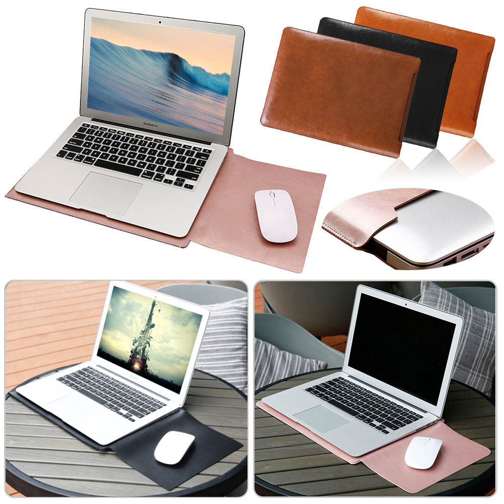 Eagwell Universal PU Leather Sleeve Bag Pouch Case For 11 13 15 inch Laptop Notebook Carry Bag Cover For Macbook Air Pro Retina