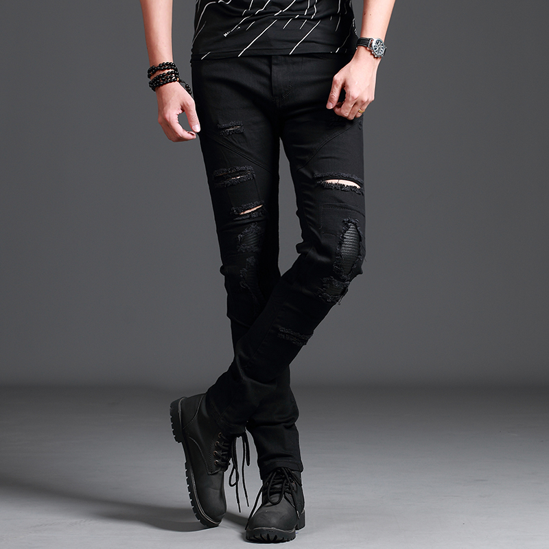 2018 New Mens Skinny Jeans Motorcycle Riding Jeans Knee-Tear Hole Jeans Trousers Ankle Boots Exquisite Motorcycle Jeans Trouser ...