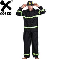 XCOSER Brand New Arrival Men Firefighter Cosplay Costume Suit 2018 Halloween Party Male Cool Cosplay Sets Top & Pants & Hat
