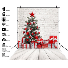 Laeacco Gray Brick Wall Christmas Tree Wooden Board Gift Child Portrait Backgrounds Photography Backdrops Photocall Photo Studio