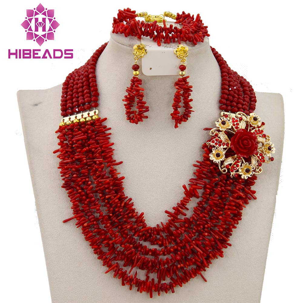 Graceful Red Coral Beads African Wedding Jewelry Set 2017 Fashion Jewelry Sets Brides Gift Free Shipping CNR306