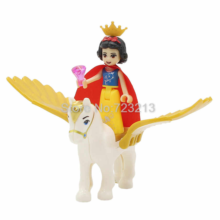 Única Venda Princesa com Flying Horse Menina Sereia Figura Cinderela Branca de Neve Boneca Anna Building Blocks Define Modelos de Brinquedos