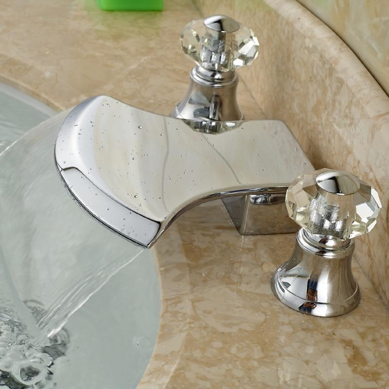 ФОТО Modern Deck Mount Widespread Waterfall Bathroom Tub Faucet Dual Handles 3 Holes Basin Sink Mixer Taps