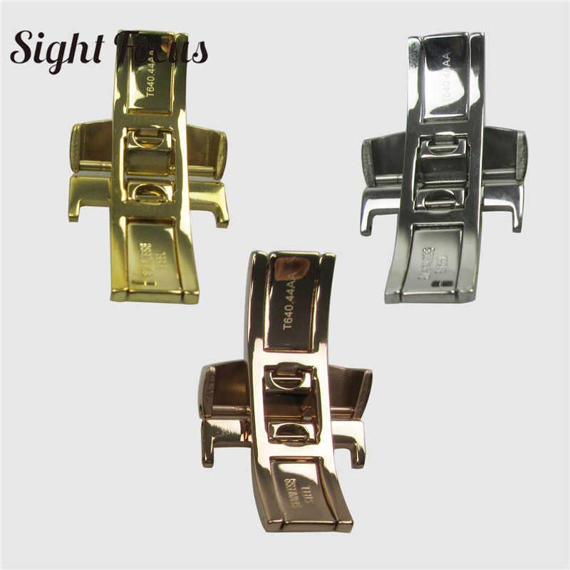 18 Mm Stainless Steel Gelang Jam Kulit Butterfly Gesper untuk Tissot T41 T60 T91 T099 T014 63 1853 Strap Clasp Menonton gesper Bagian