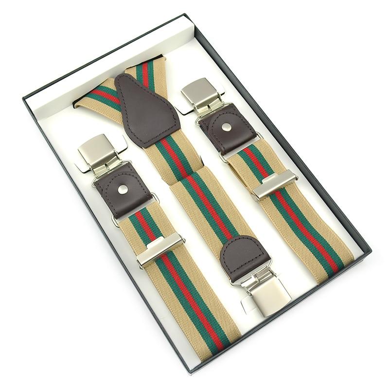 3 High Quality Big Clip On Adjustable 3.5 Cm Suspenders With Gift Box Gallus Y-back Elastic Braces Suspender