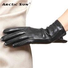 New Arrival 2015 Women Touchscreen Gloves Wrist Genuine Leather Winter Plus Velvet Driving L165NC2