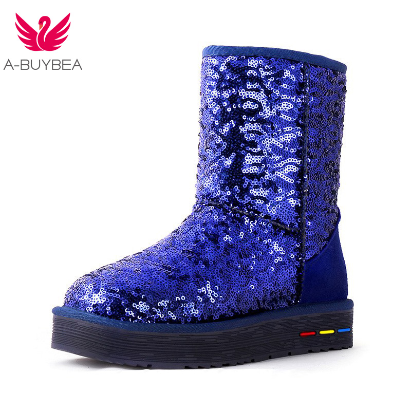 A-BUYBEA wholesale Australia Classic Women Sequins Snow Boots Female ankle boots Blue Cow Suede Winter Classic boots Size 35-41