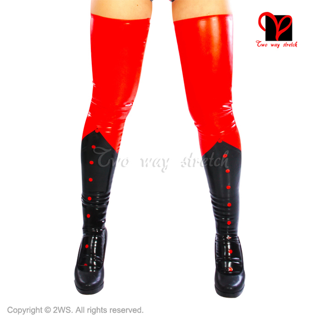 Sexy Red and Black Trims Latex  Stockings Knee Feet Rubber Thigh High Long Leg Stockings Gummi Wear plus size XXL