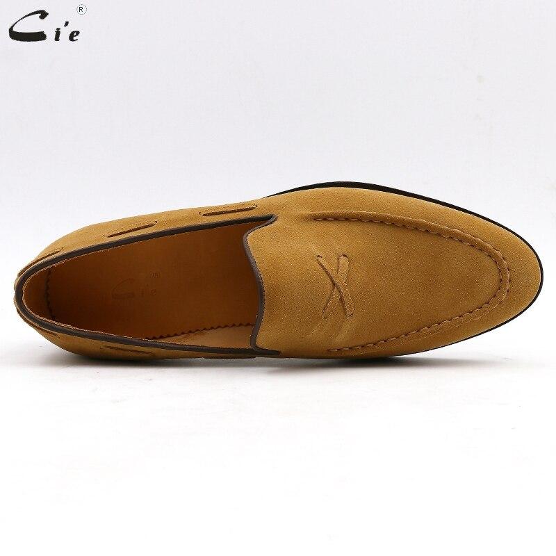 Cie para hombre holgazán transpirable cuero de becerro genuino para hombre hechos a mano elegante slip en pisos casuales marrón barco de lujo zapatos de gamuza N ° 19-in Mocasines from zapatos    3