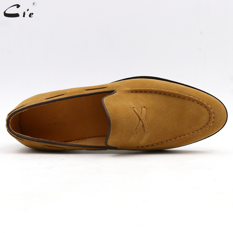 cie mens loafer breathable genuine calf leather handmade mens elegant slip-on casual flats brown boat luxury suede shoes No.19
