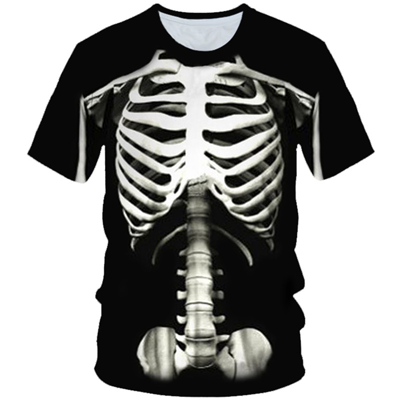 T-Shirt Boys Skull Flower-Skeleton Girl Kids Print 3D Sickle Fire-Death Party 4-20-Years