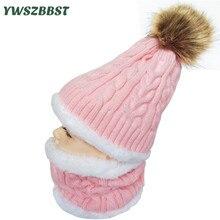 Módní dětské klobouky pro dívky Kids Boys klobouk Teplé fleece Liner Cap s šály prsten Zimní kožešinový klobouk pro dětské pompom Skullies Beanies