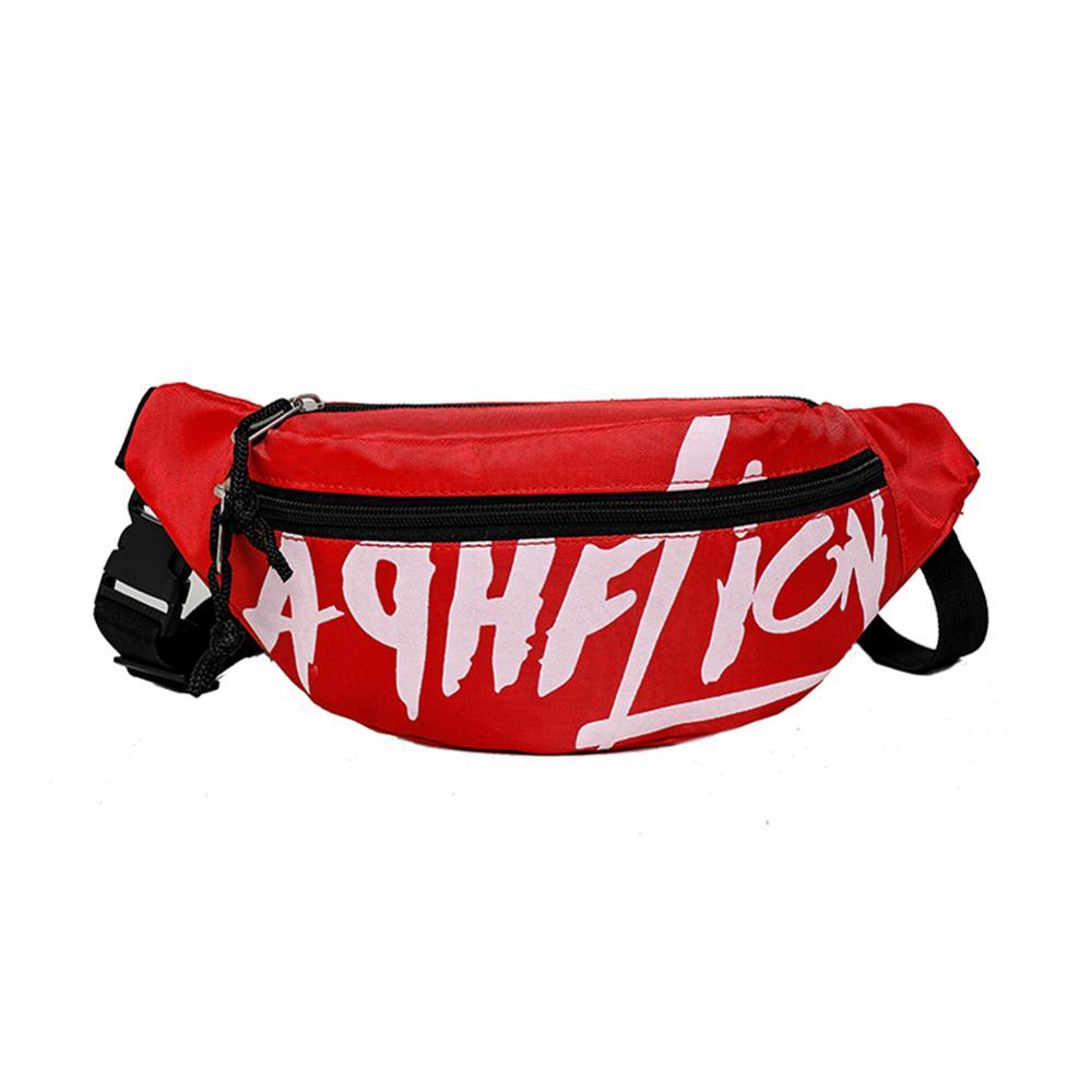 Girls Hip Hop Unisex Nylon Shoulder Waist Fanny Belt Pack Letter Print Waist Bag Women Couple Bag Travel Hiking Shoulder Bag