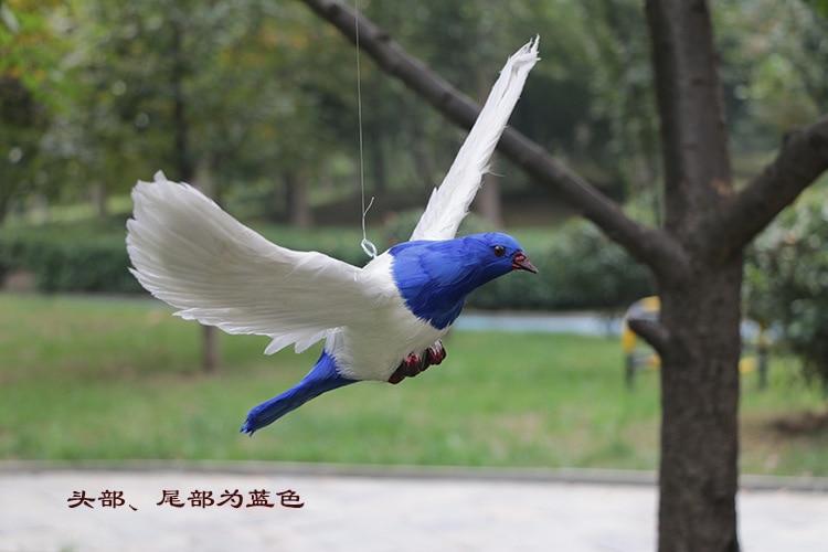 Nouvelle simulation ailes pigeons jouet simulation tête bleue et queue colombe poupée cadeau environ 38x26 cm 2885