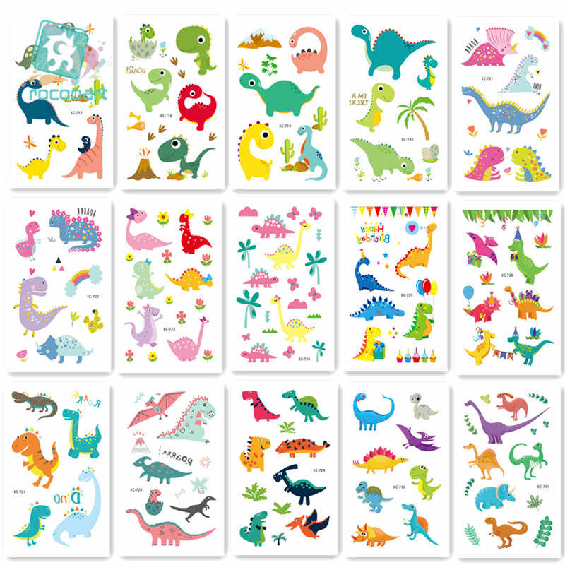 15Pcs New Dinosaurs Tattoo Stickers Children Birthday's Gift Fake Tatoo Kids Tatuajes Body Hand Art Waterproof Temporary Taty