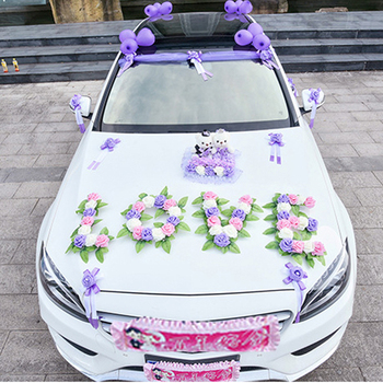 Wedding Car Decoration Artificial Flowers Love Shape Flower Garland Tulle Wreath Rose Wedding Party Decor