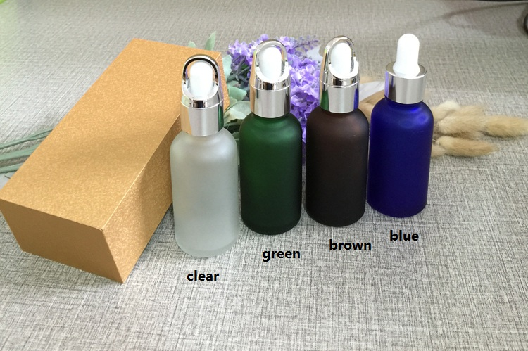 4pcs 30ml frosted glass bottle empty  dropper bottle With wooden box,silver cap essential oil bottle, perfume subpackage jar free shipping 30 50ml 4pcs lot glass green essential oil bottle with dropper packing dilution bottle