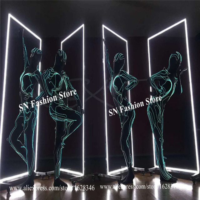 M46 Ballroom dance led costumes el cold wires lighted female bodysuit luminous dress dancer wears jumpsuit stage outfits clothes