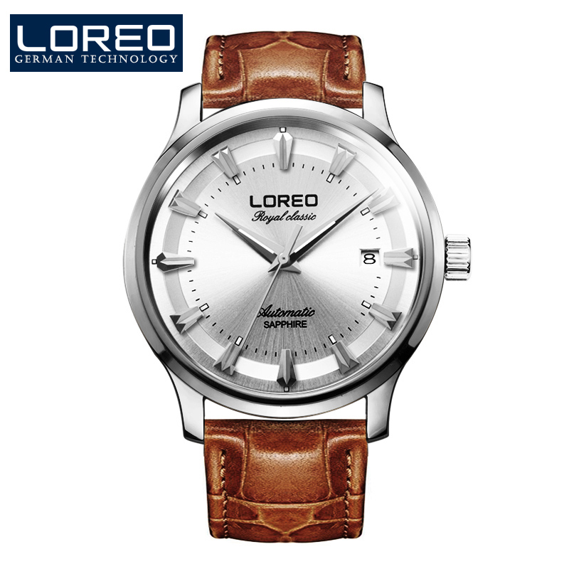 LOREO Germany watches men luxury brand royal classic automatic self-wind mechanical watch sapphire silver Leather belt
