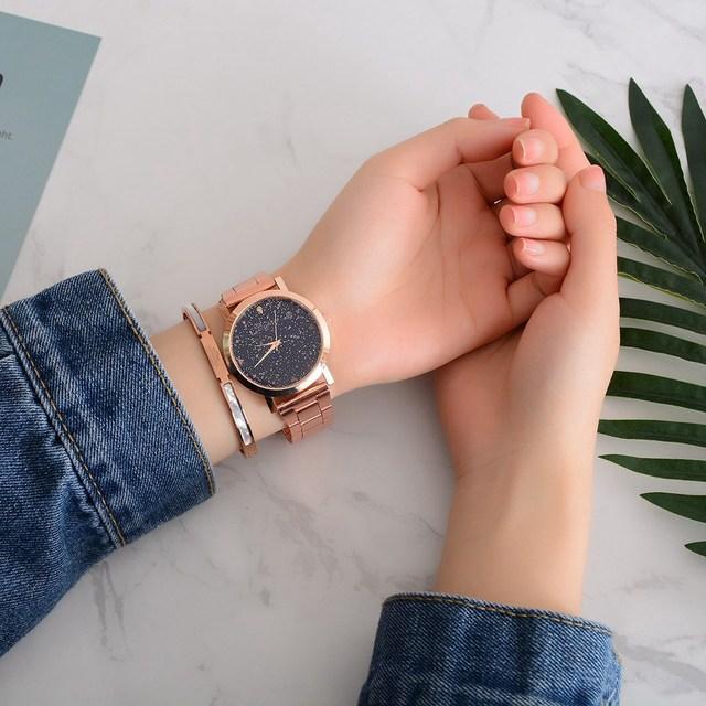 Women's Dress Starry Sky Pattern Wristwatches